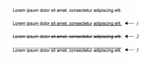 Formatar caracteres texto artstico com sublinhado 1 riscado 2 e tachado 3 aplicado ao texto usando as linhas de estilo nico e duplo ccuart Images