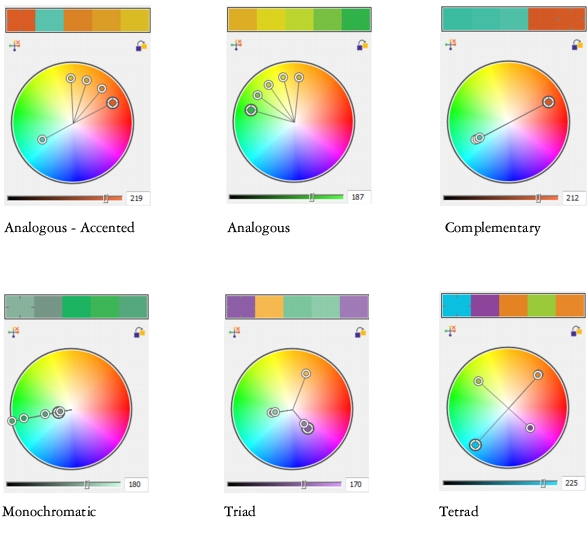 Examples Of Color Harmonies Created From Scratch By Using Harmony Rules